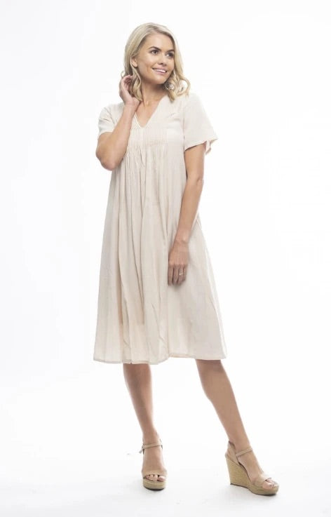 Orientique Essentials Pocket Dress-Sand