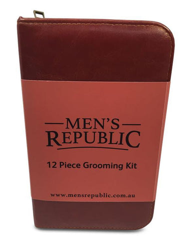 Men's Grooming Kit - 12 Pieces in Zipper Bag