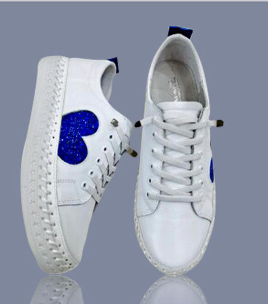 Aida & Co Leather Sneakers-Blue Heart