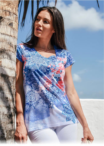 Printed Tee-Blue & Orange Mandala Print