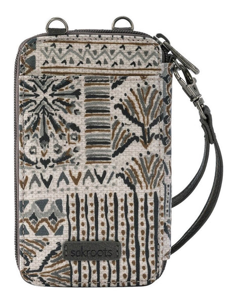 Sakroots Artist Circle N-S Smartphone Crossbody Purse Natural Brave Beauti