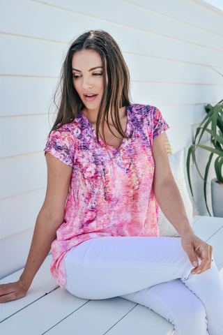 Printed Tee-Coral Blossom Print