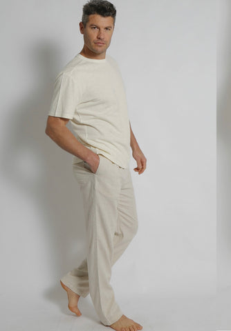 Men's Bamboo Hemp Elastic Waist Beach Pants-Natural