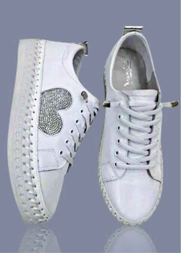 Aida & Co Leather Sneakers-Silver Heart
