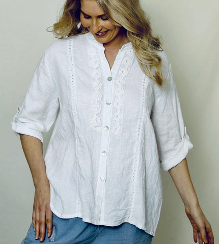 Italian Linen Embroidered Shirt-Crisp White