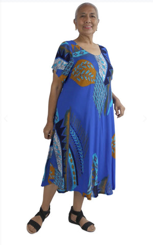 Newport Dress-Blue Aztec Print