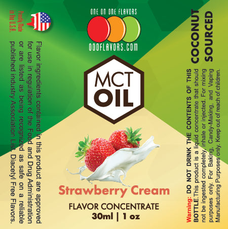Natural Strawberry Cream - MCT Concentrated Flavored Oil *Unsweetened*