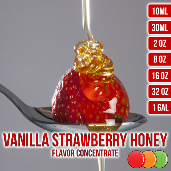 Vanilla Strawberry Honey Flavored Liquid Concentrate OOOFLAVORS.COM A smooth and sweet blend of vanilla, strawberry, and honey flavors.