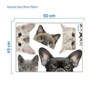 Funny 3D Cat Dog Half a face Peeking car sticker Wall background Art decals decorations cute animal wall stickers for home decor