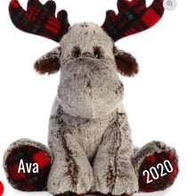 Load image into Gallery viewer, Large Plaid Personalized Moose With Diabetes Ribbon