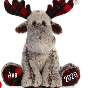 Large Plaid Personalized Moose With Diabetes Ribbon