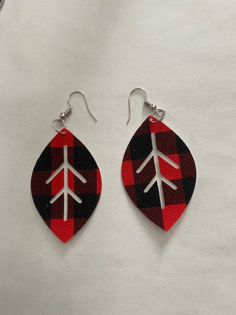Red Plaid Earrings