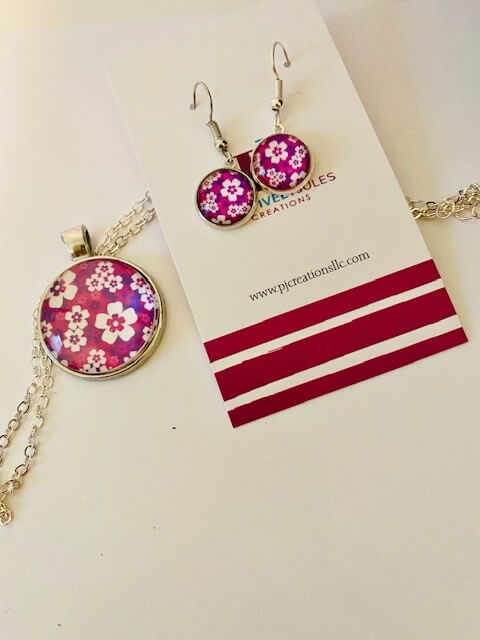 Purple Floral Necklace Set