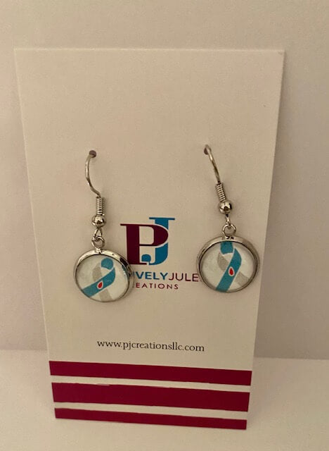 Diabetes Awareness Ribbon Dangling Earrings