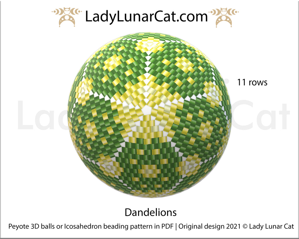 FREE Peyote 3d ball beading patterns Dandelions by Lady Lunar Cat
