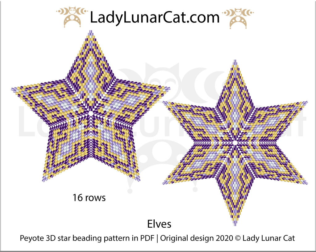 Free Peyote 3D Stars Elves
