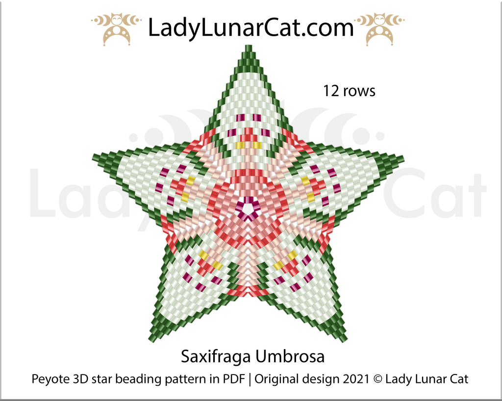FREE Peyote star pattern for beading Saxifraga Umbrosa by Lady Lunar Cat
