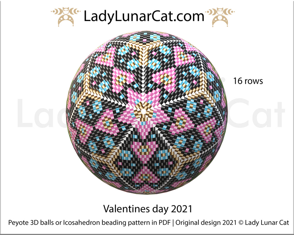 FREE Peyote 3d ball beading patterns Valentines day 2021 by Lady Lunar Cat