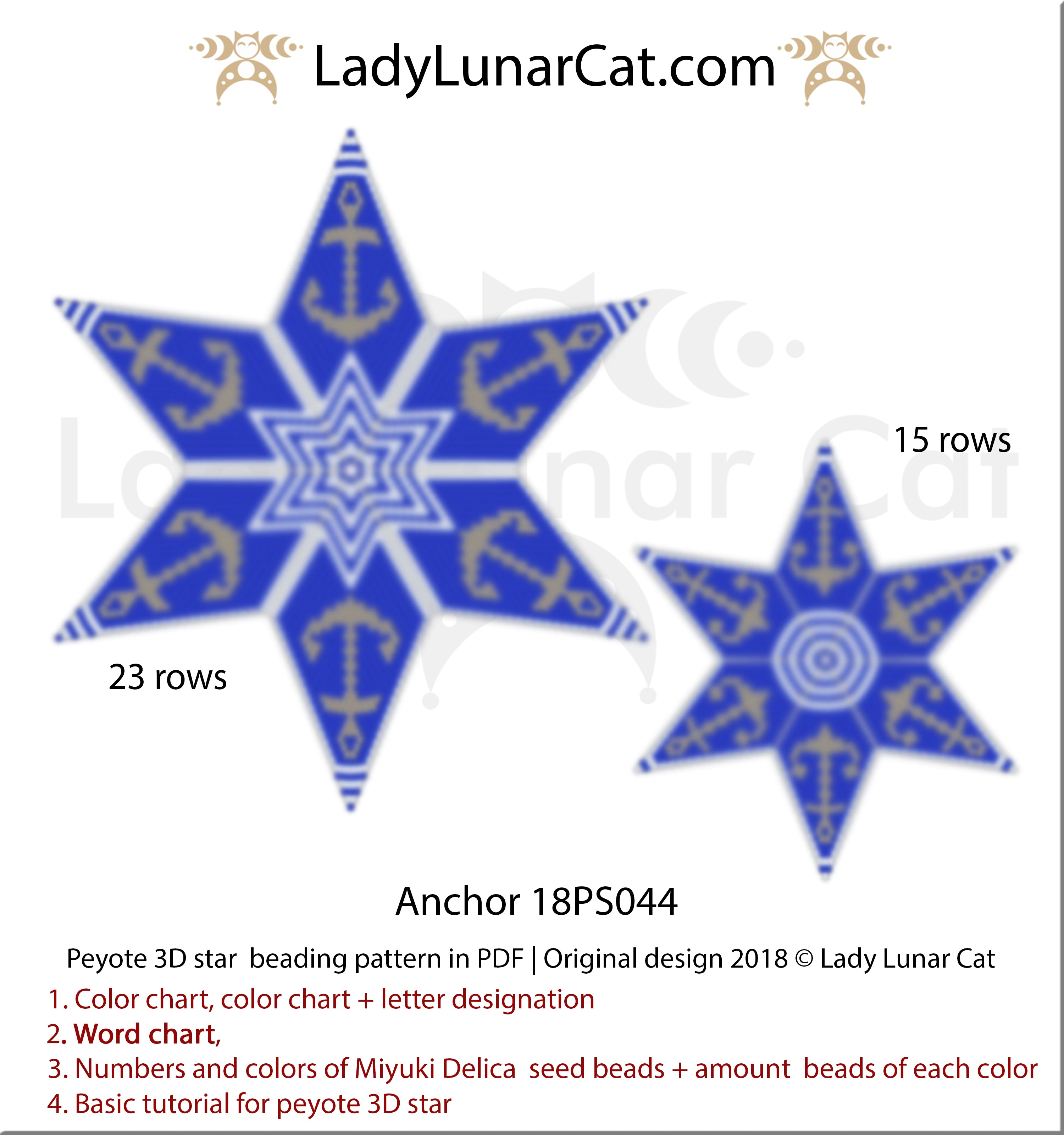 Peyote star pattern Anchor 18PS044 by Lady Lunar Cat