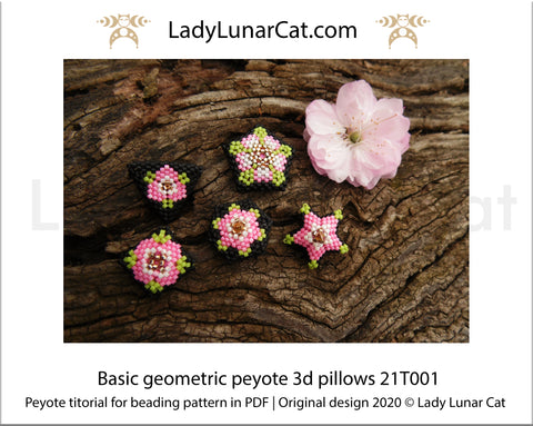 Beading tutorial peyote 3d pillows - 21T001 Step by step by Lady Lunar Cat