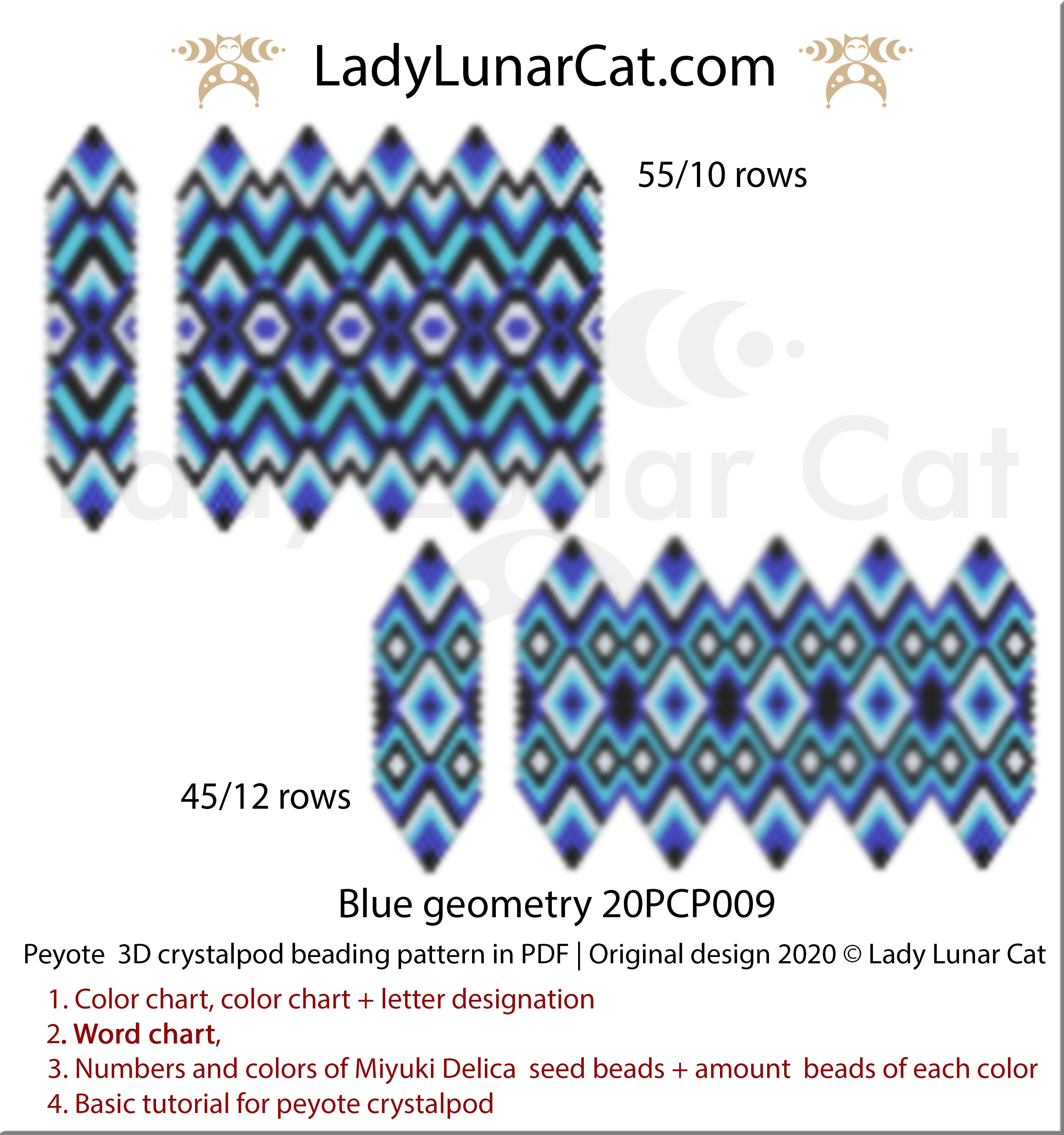 3d peyote crystalpod patterns for beading by Lady Lunar Cat
