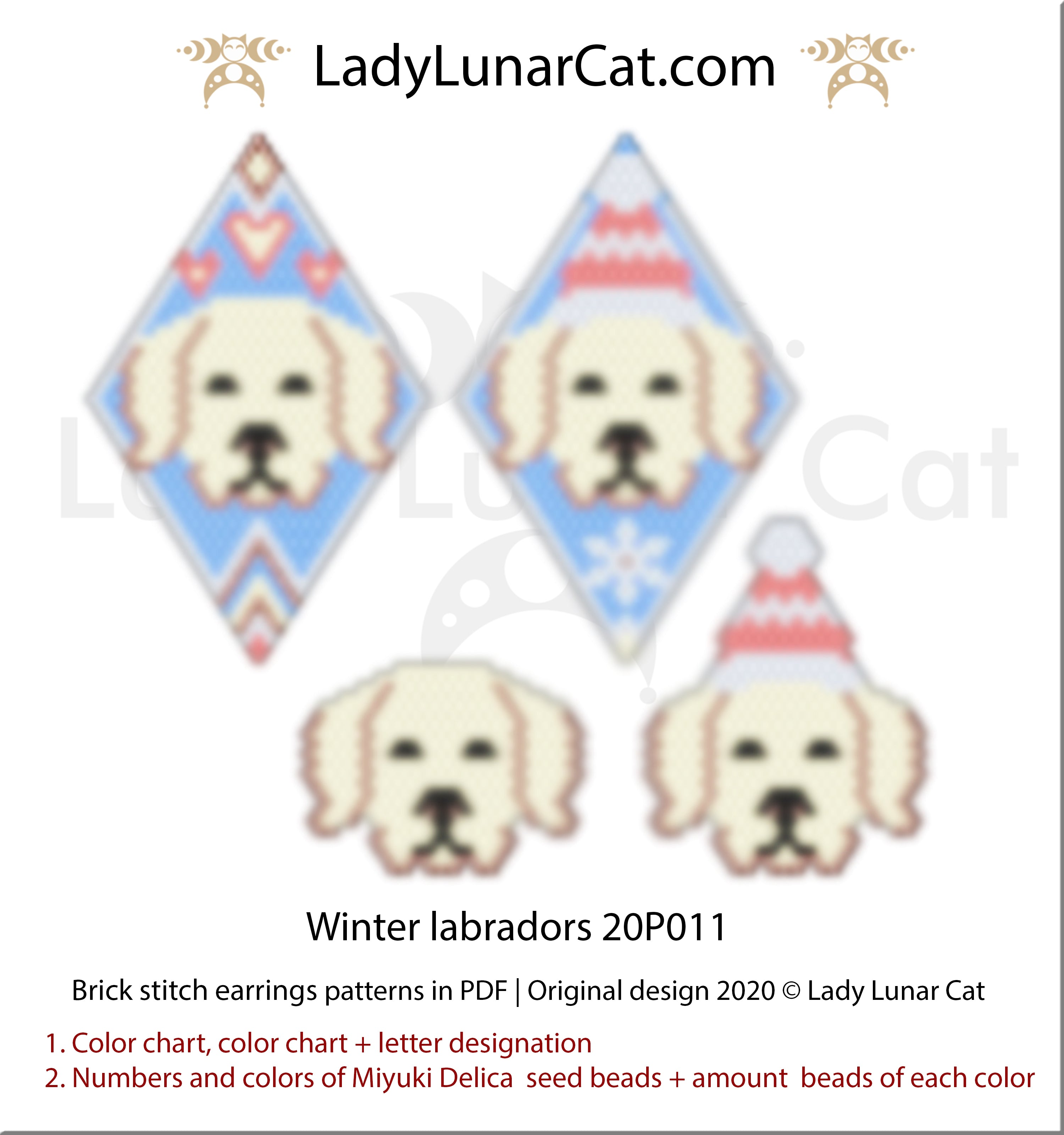 Brick stitch pattern for beading Winter Labradors 20P010 | Christmas beaded earrings tutorial by Lady Lunar Cat