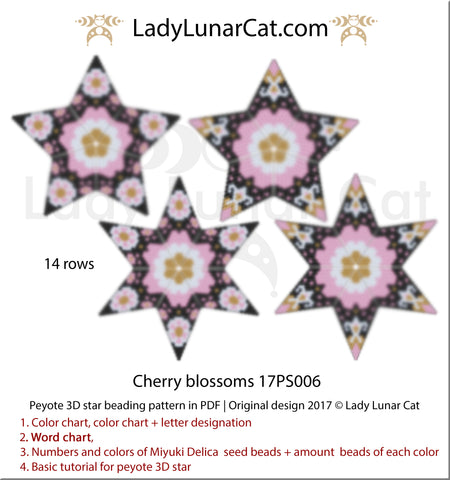 3d peyote star patterns for beading geometric Cherry blossoms 17PS006 by Lady Lunar Cat | Seed beads tutorial for 3D beaded star