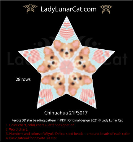 Beaded star pattern - Chihuahua 21PS017 by Lady Lunar Cat   3d peyote star