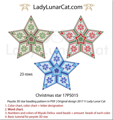 Beaded star pattern for beadweaving Christmas star 17PS015 by Lady Lunar Cat | Seed beads tutorial for 3D peyote star