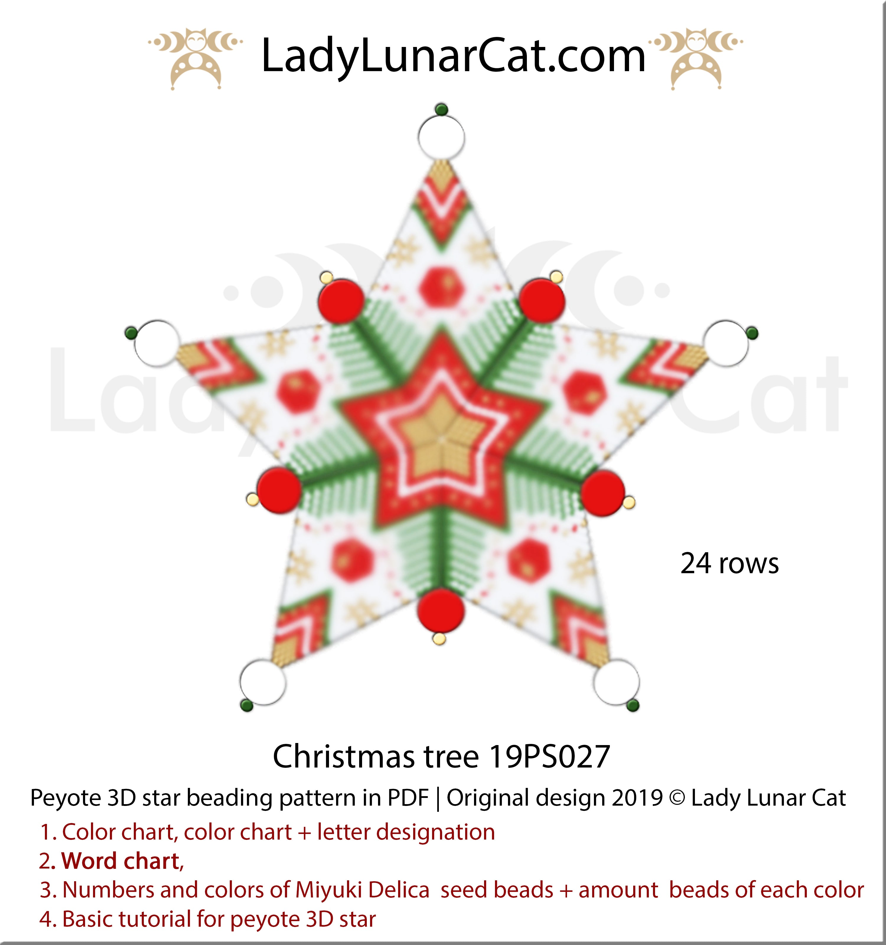 3d peyote star patterns for beading Christmas tree by Lady Lunar Cat | Seed beads tutorial for 3D beaded star