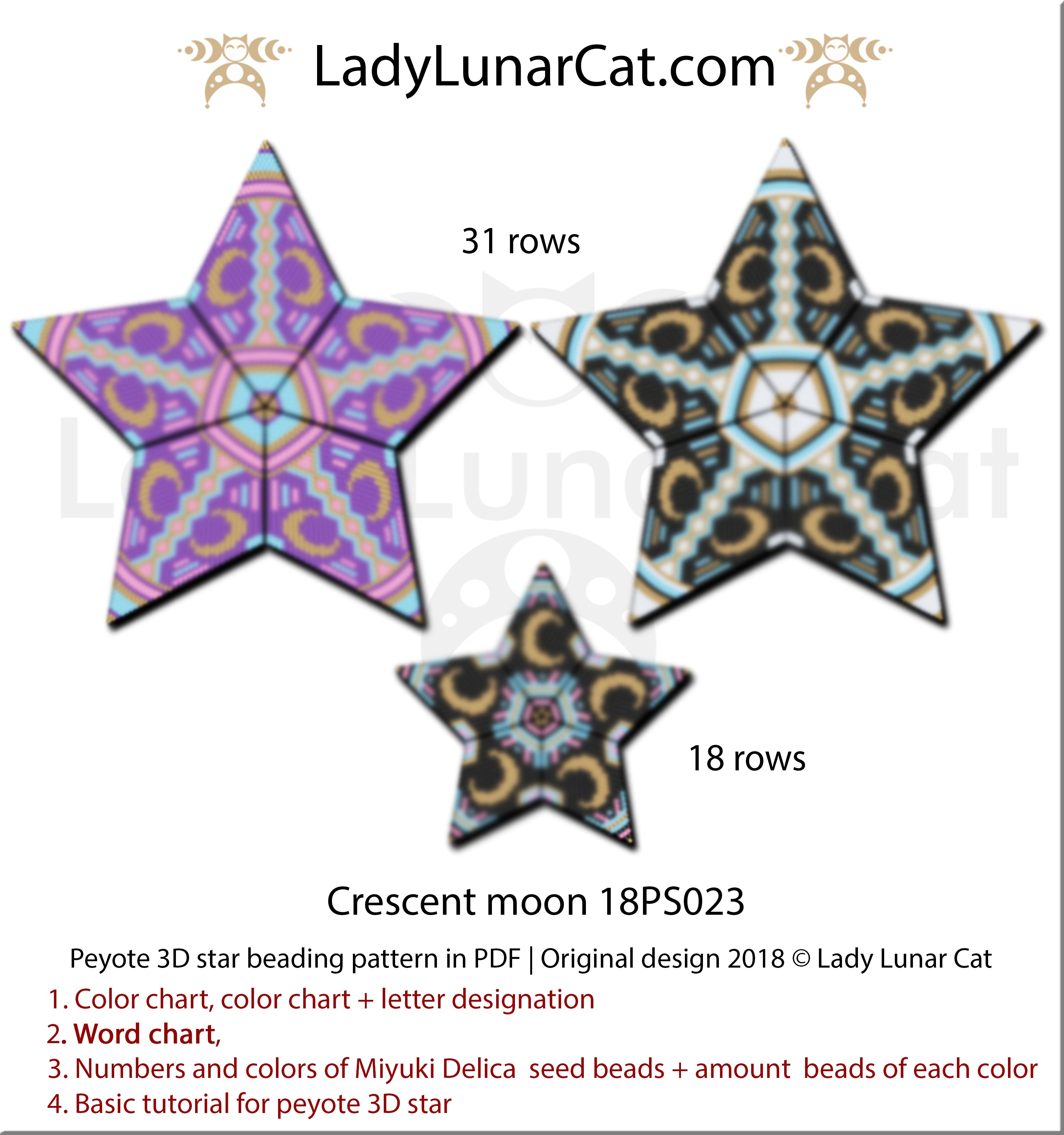 Peyote star patterns for beading Crescent moon by Lady Lunar Cat