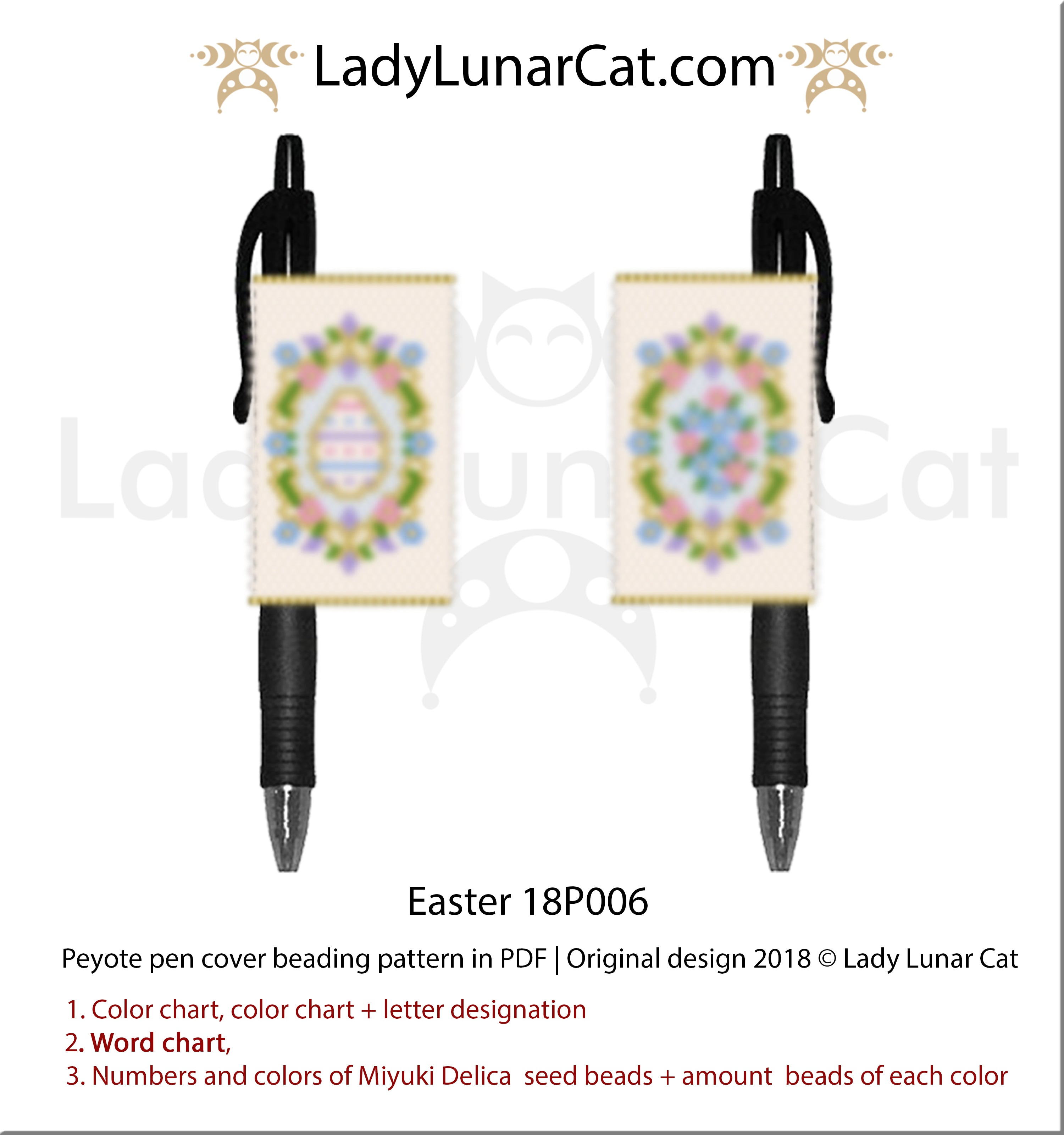 Peyote pen cover pattern for beading | Beaded pen wrap and rings tutorial Easter 18P006 by Lady Lunar Cat