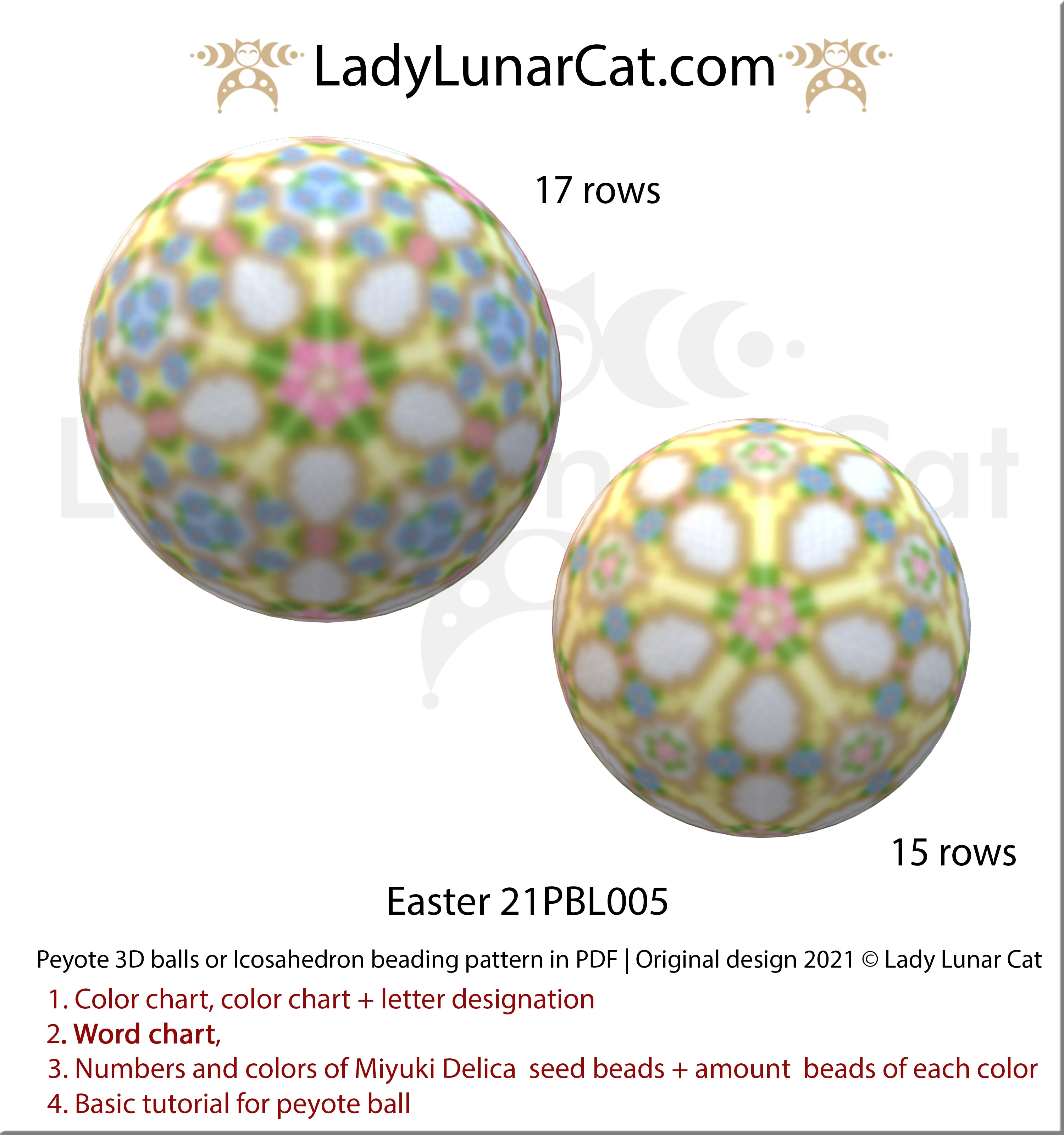 Peyote 3d ball pattern for beading with flowers | Beaded Icosahedron Easter 21PBL005 17/15 rows