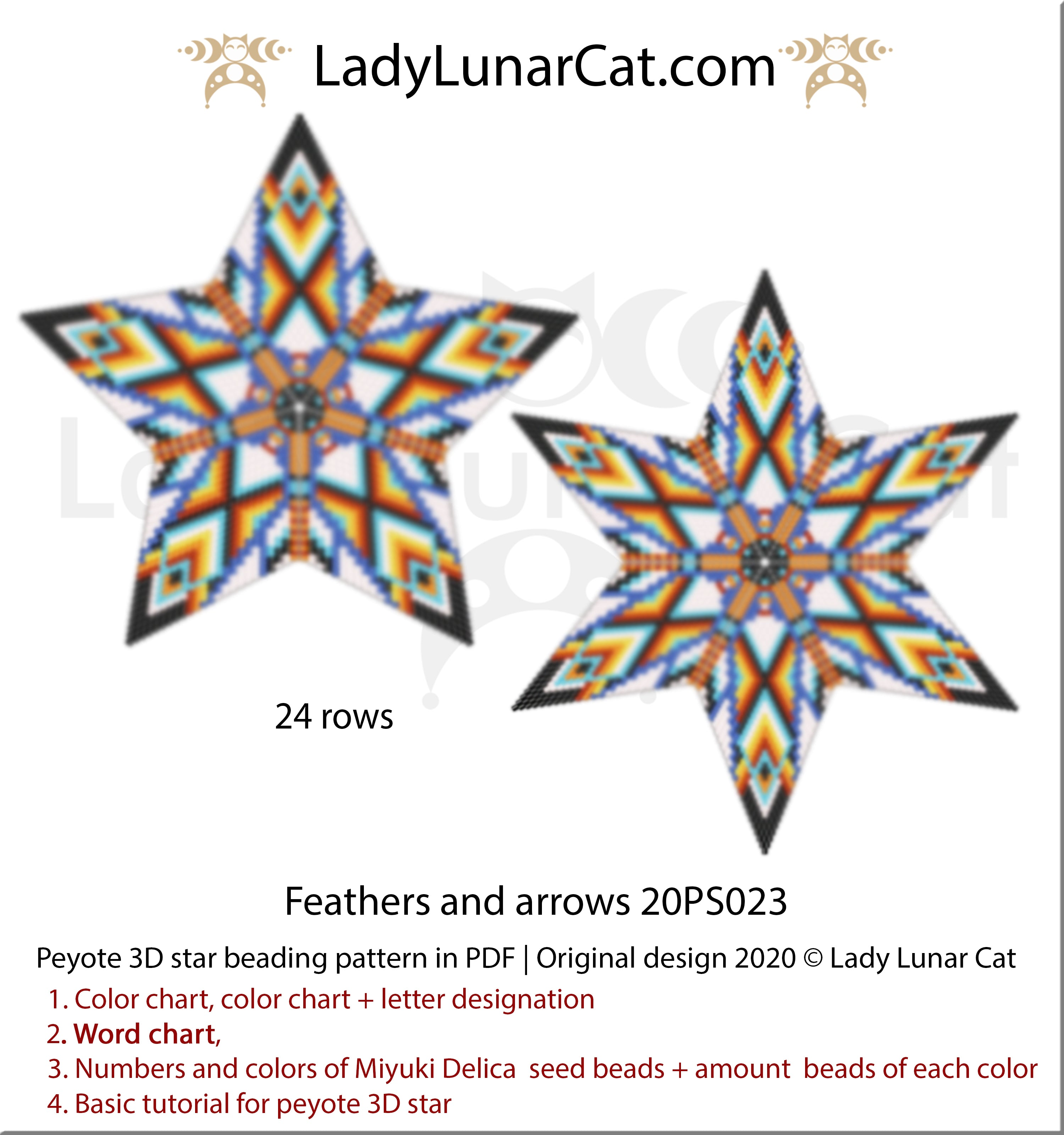 3d peyote star patterns for beading Feathers and arrows by Lady Lunar Cat | Seed beads tutorial for 3D beaded star