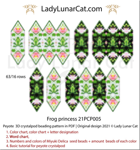 3d peyote pod pattern for beading Frog princess 21PCP005 by Lady Lunar Cat