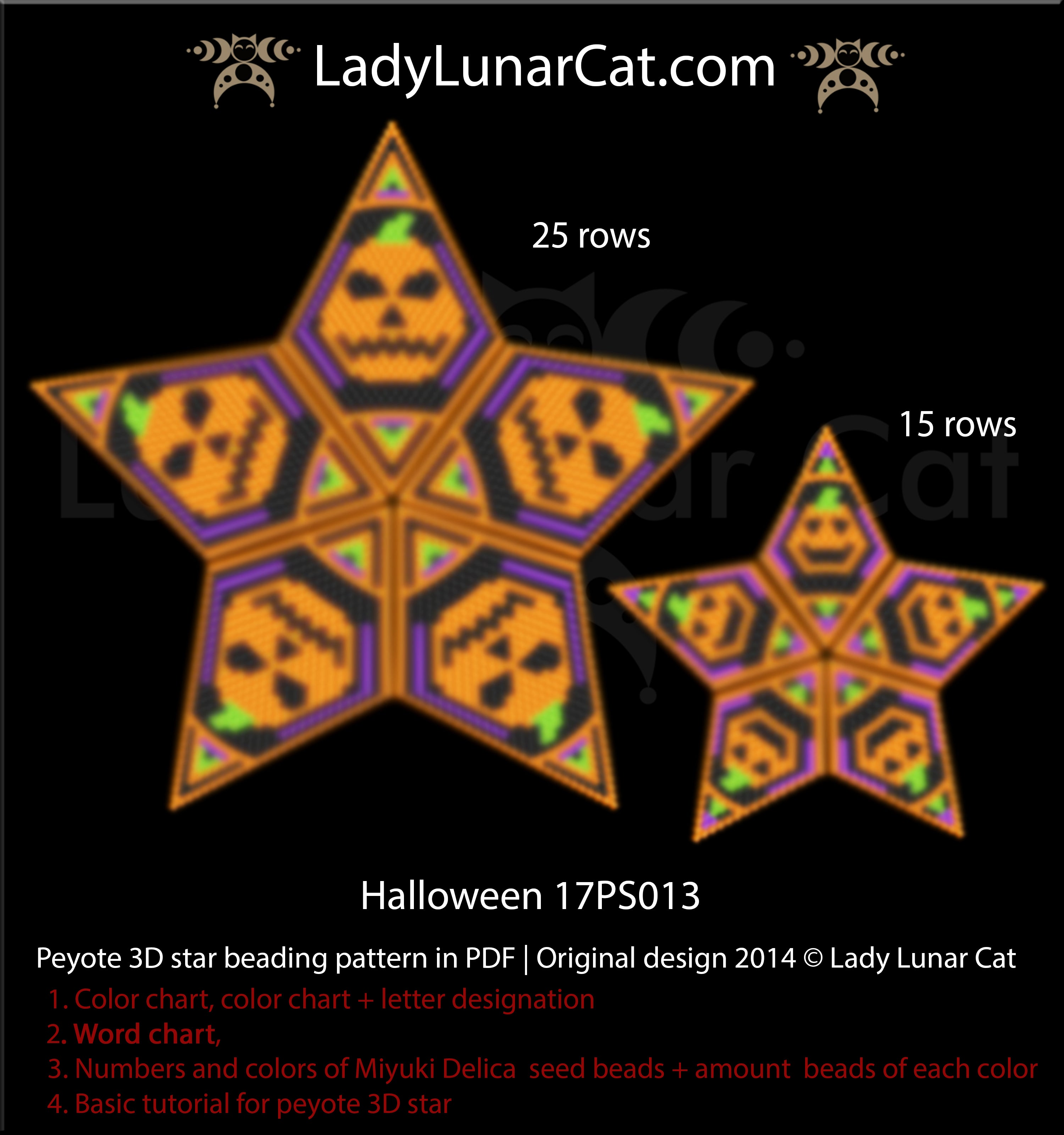Peyote star patterns for beading Halloween by Lady Lunar Cat | Seed beads tutorial for beaded star