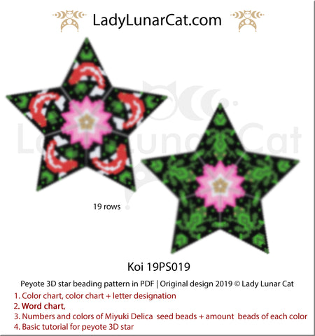 Beaded star pattern for bead weaving Koi fish and frogs by Lady Lunar Cat | Seed beads tutorial for 3D peyote star