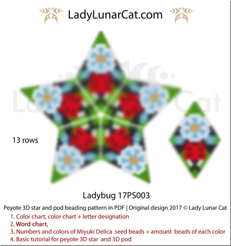 Peyote star patterns for beading Ladybug 17PS003 by Lady Lunar Cat | Seed beads tutorial for 3D beaded pod