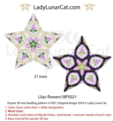 3d peyote star patterns for beading geometric Lilac flowers  by Lady Lunar Cat   Seed beads tutorial for 3D beaded star