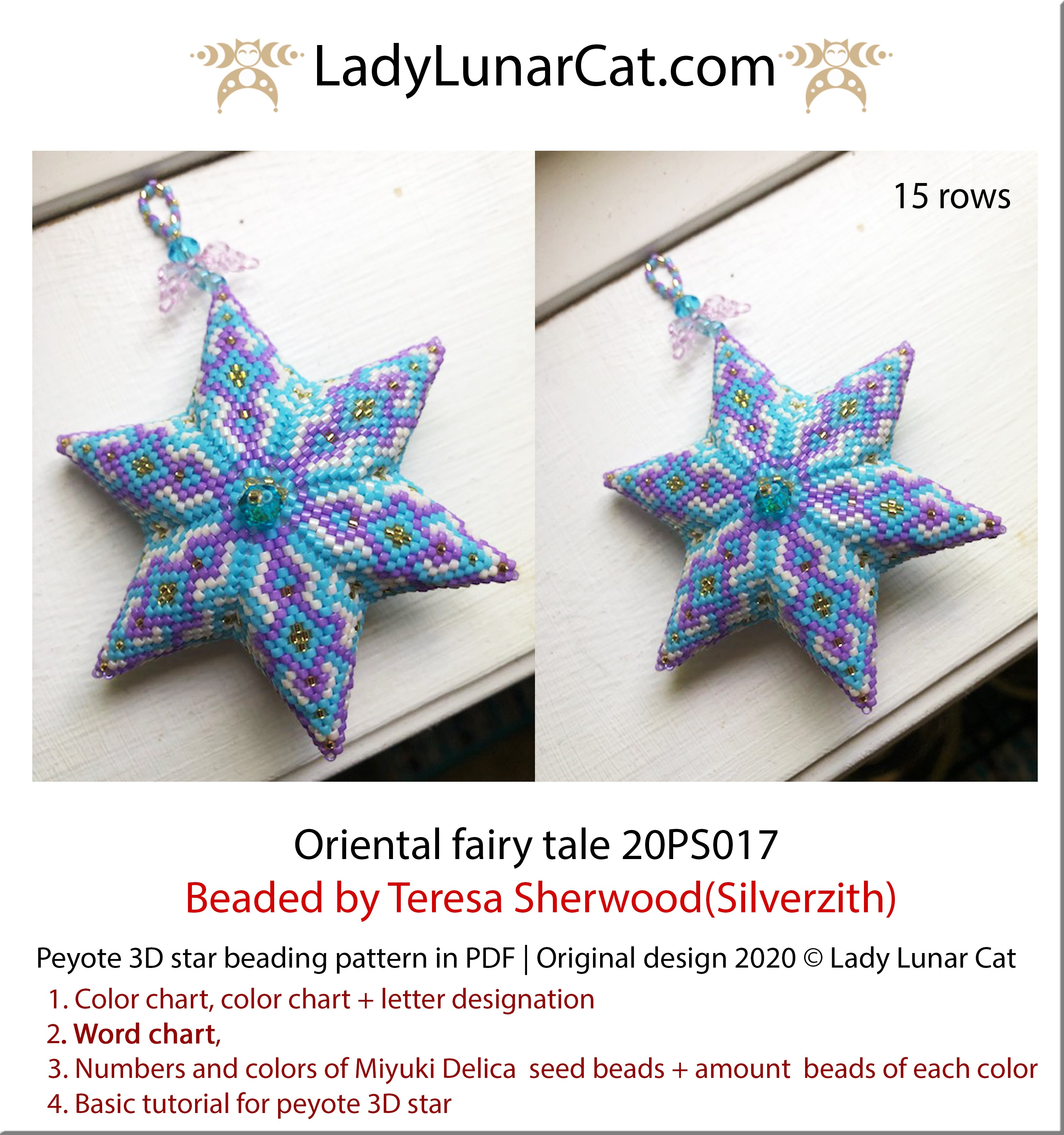 3d peyote star patterns for beading Oriental fairy tale by Lady Lunar Cat | Seed beads tutorial for 3D beaded star