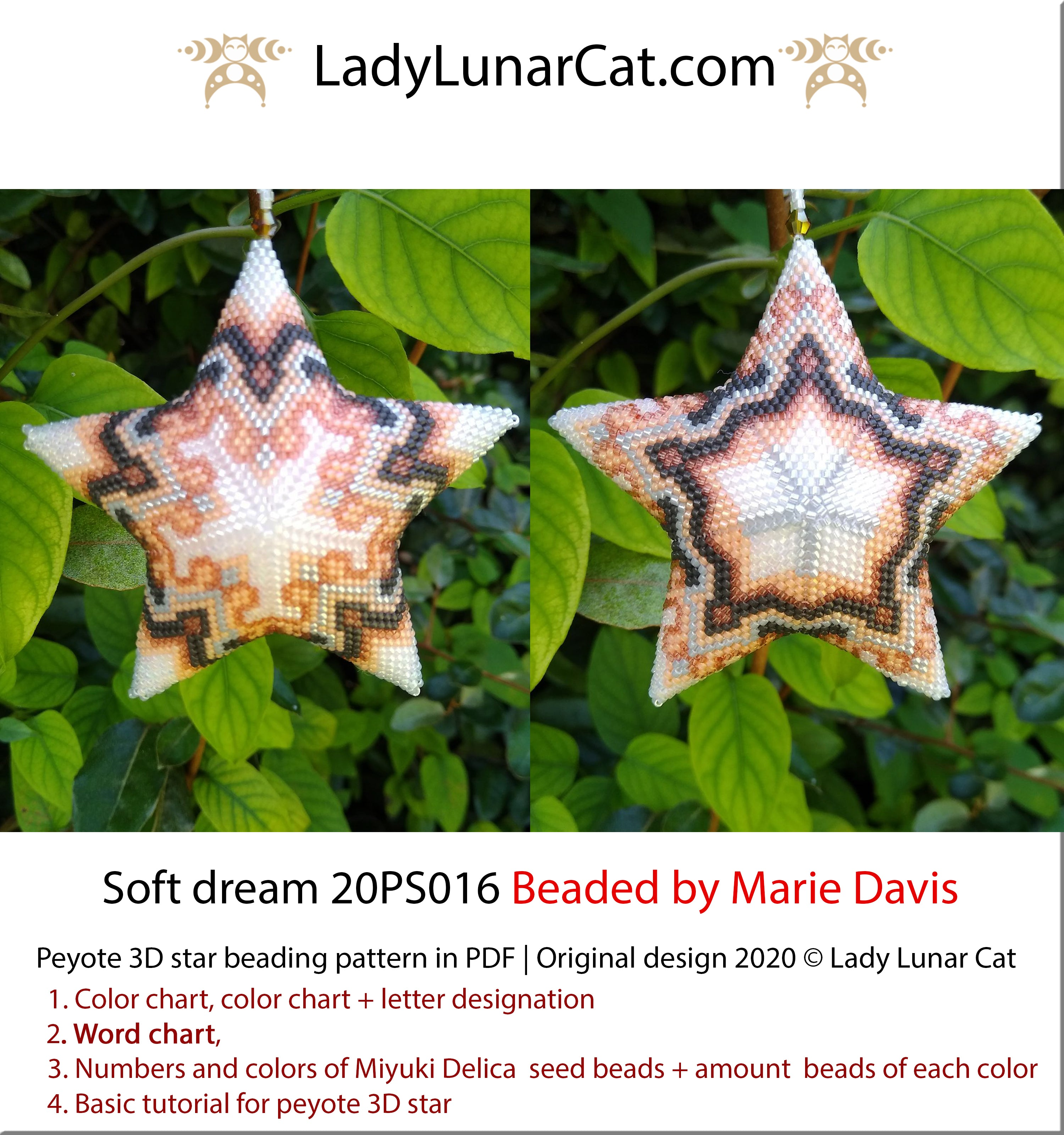 3d Peyote star pattern Soft dream 20PS016  by Lady Lunar Cat