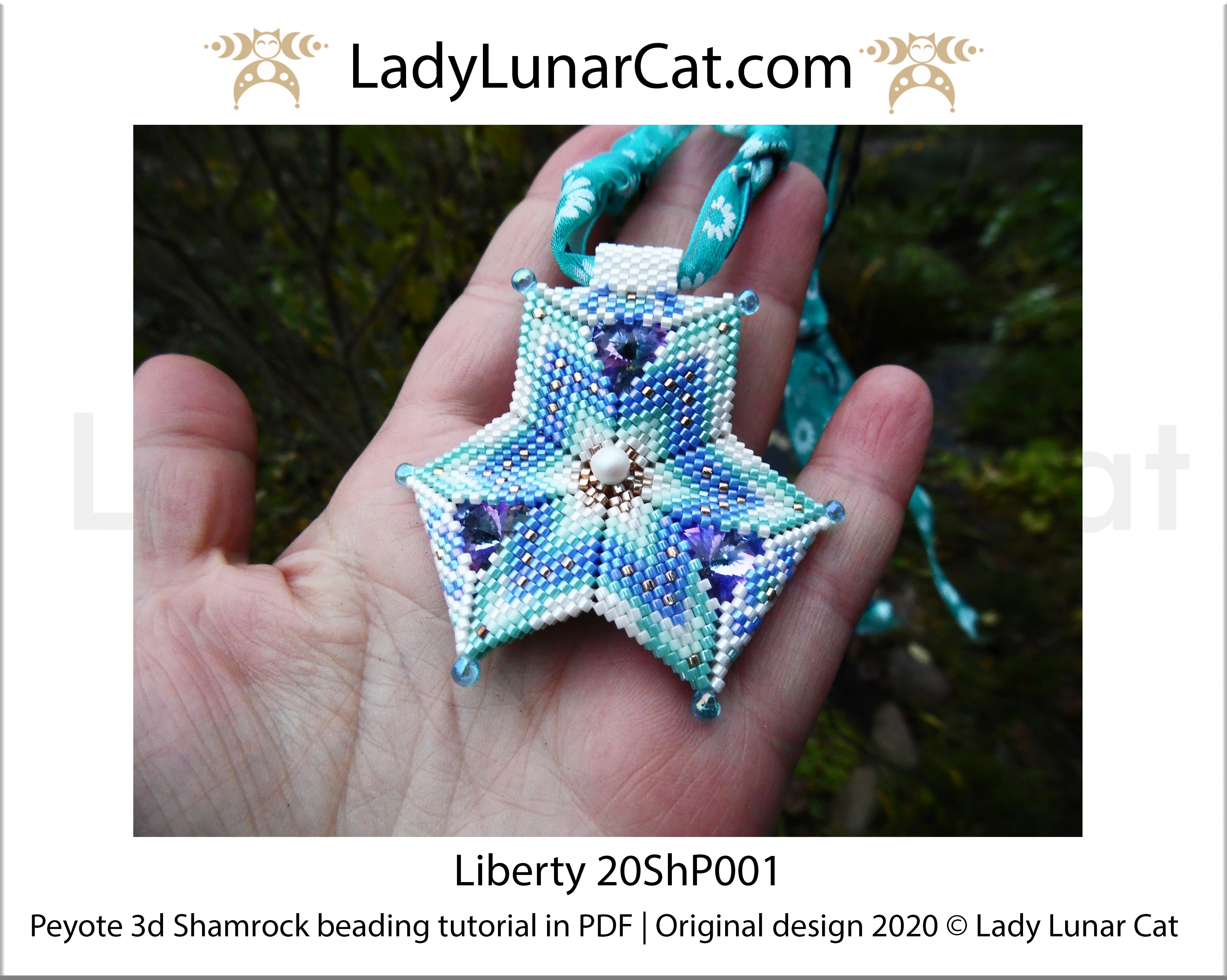 Beading tutorial peyote 3d Shamrock Liberty 20ShP001 Step by step instruction by Lady Lunar Cat | Beading pattern