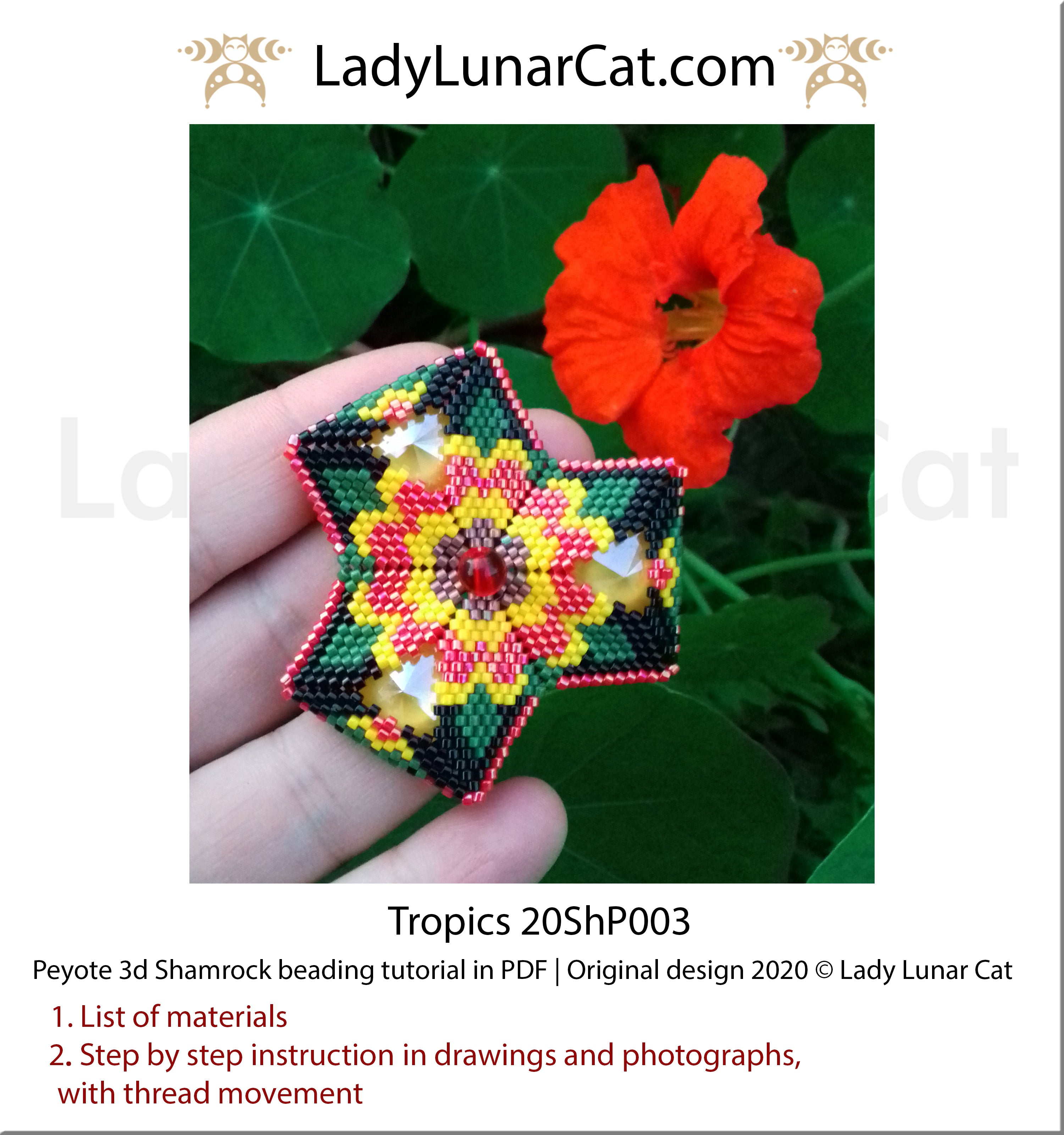 Beading tutorial peyote 3d Shamrock Tropics flower Step by step instruction by Lady Lunar Cat | Beading pattern