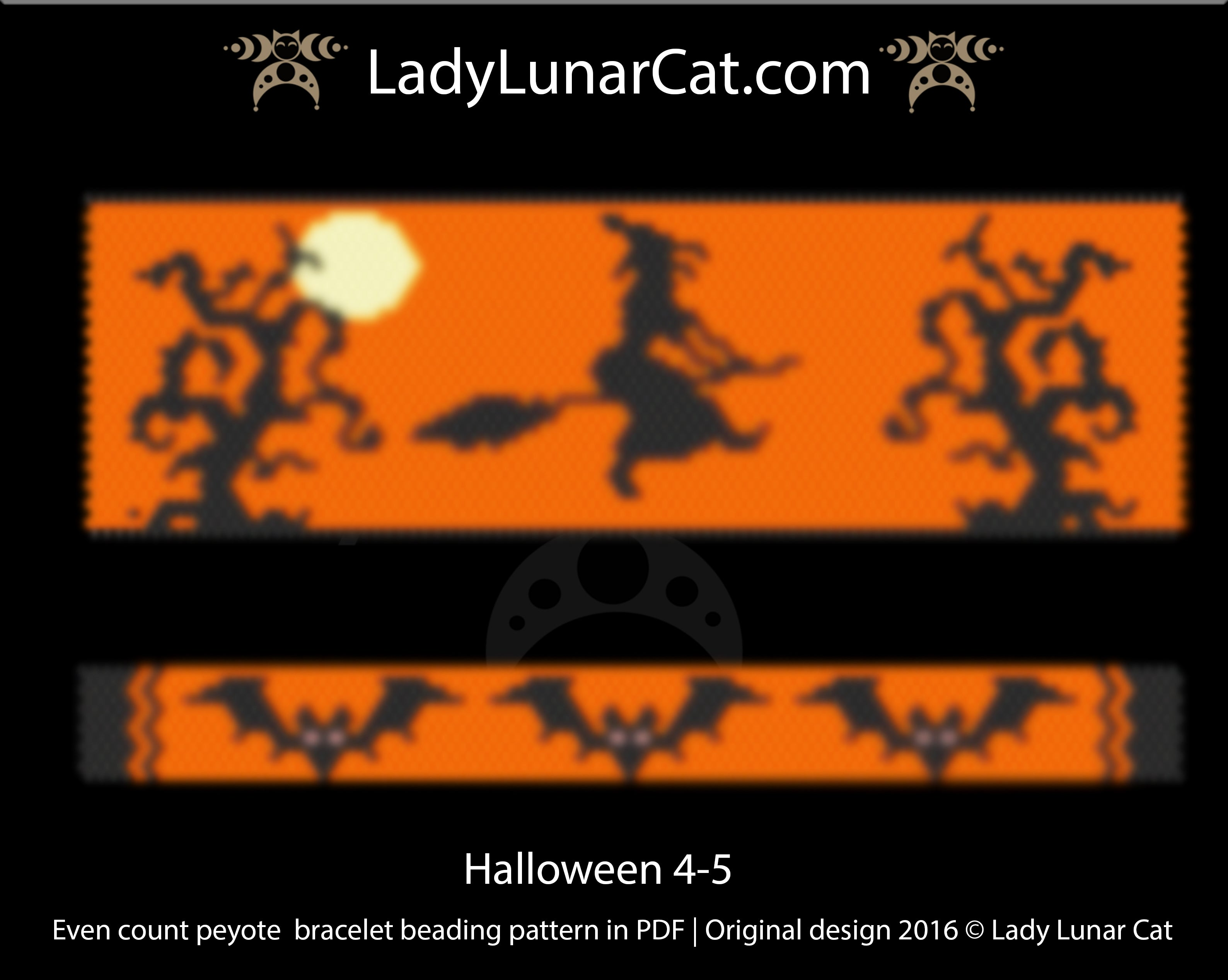 Peyote stitch bracelet pattern | Even count peyote Halloween 4-5 by Lady Lunar Cat