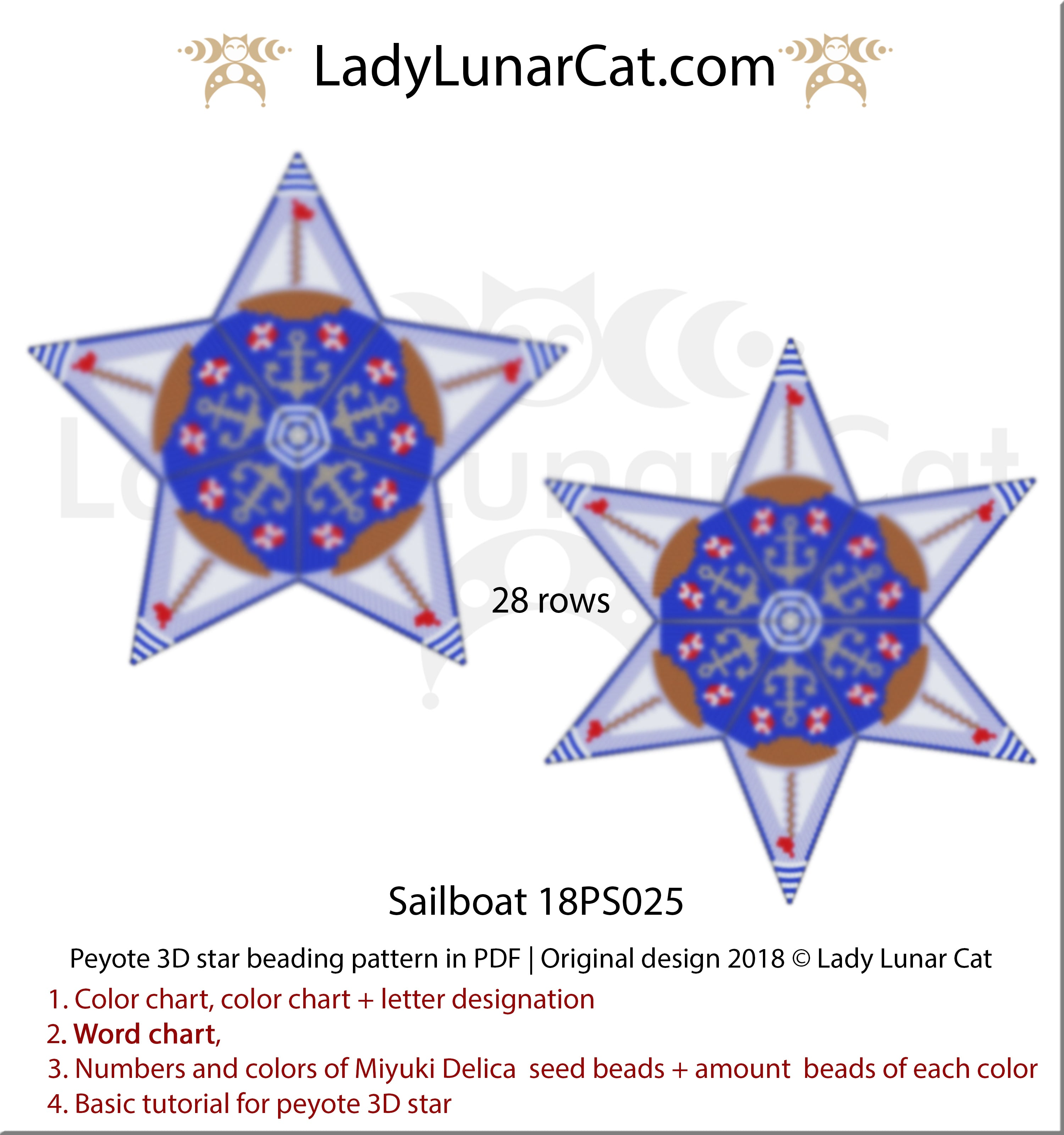 Peyote star patterns for beading Sailboat 18PS025 by Lady Lunar Cat