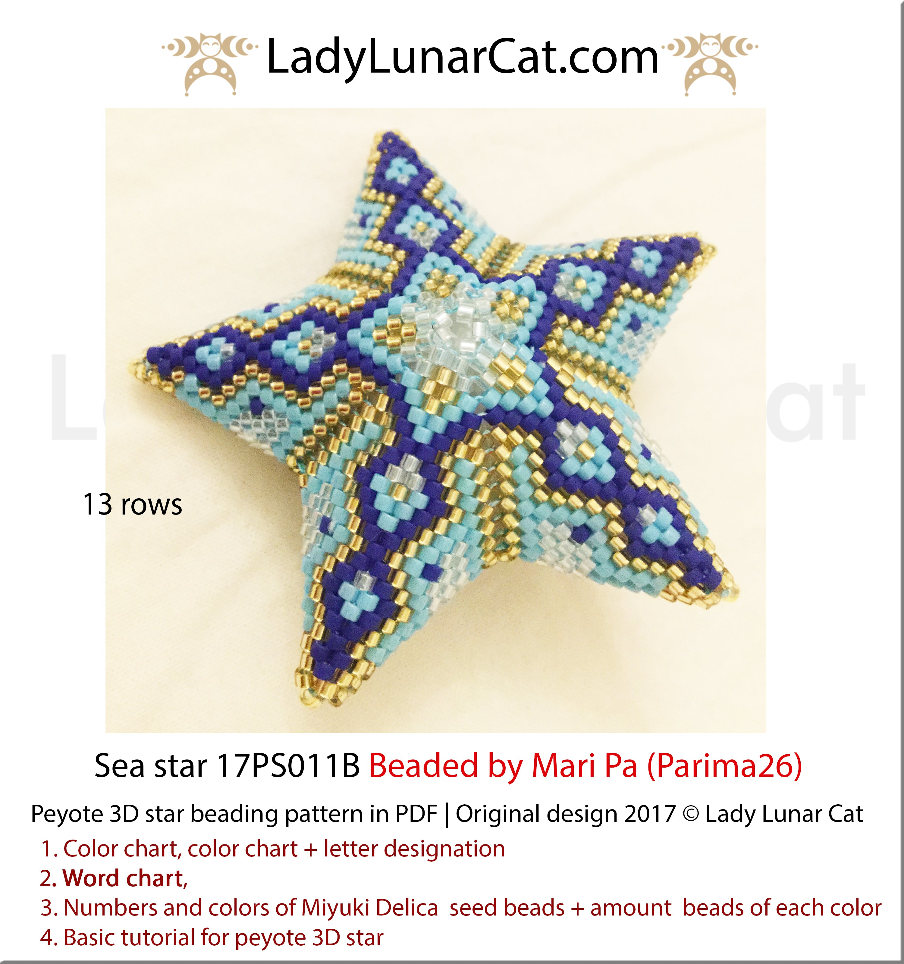 3d peyote star patterns for beading geometric Sea by Lady Lunar Cat | Seed beads tutorial for 3D beaded star