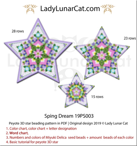 Peyote star patterns for beading flowers Spring dream by Lady Lunar Cat | Seed beads tutorial for 3D beaded star