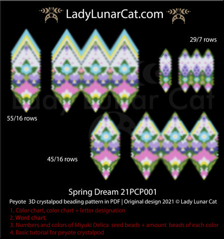 3d peyote pod pattern for beading Spring Dream 21PCP001 by Lady Lunar Cat | Seed beads tutorial for peyote crystalpod patterns