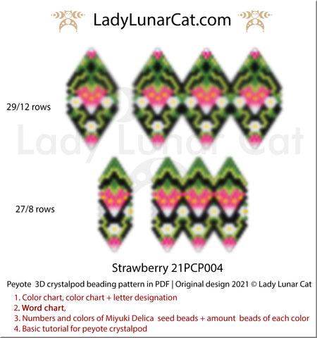 3d peyote pod pattern for beading Strawberry 21PCP004 by Lady Lunar Cat