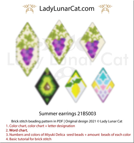 Brick stitch pattern for beading Summer earrings 21BS003 | Seed beads tutorial by Lady Lunar Cat